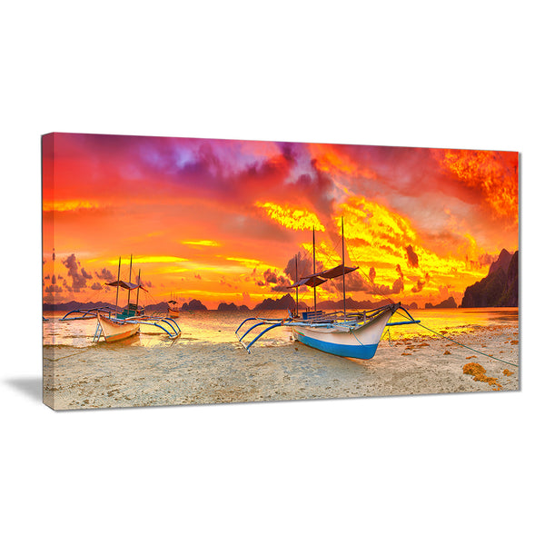 boat at sunset panorama landscape canvas print PT6793