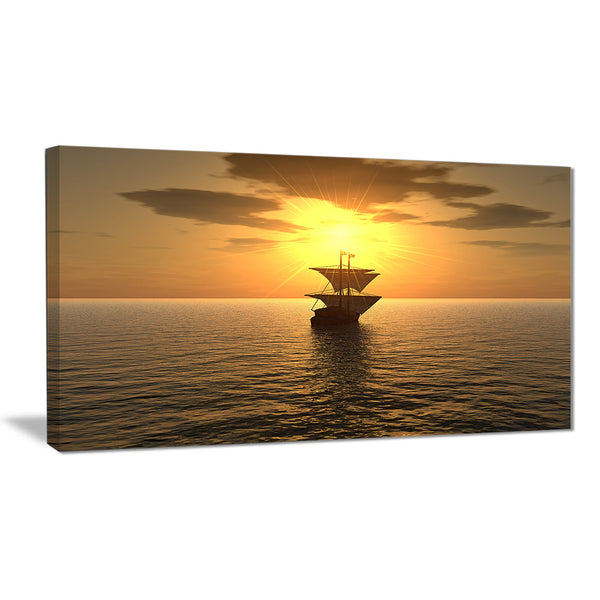 ship and sunset seascape photography canvas print PT6815