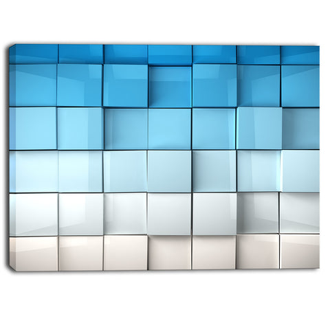 blue and white mosaic cubes contemporary artwork PT6829
