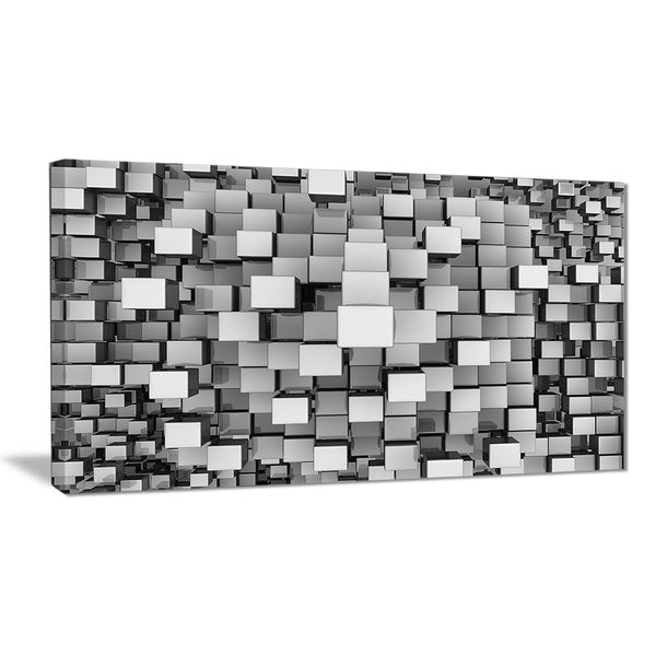 black and grey cubes contemporary canvas art print PT6830