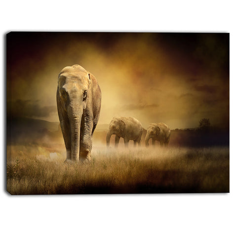 elephants at sunset animal contemporary canvas art print PT6833