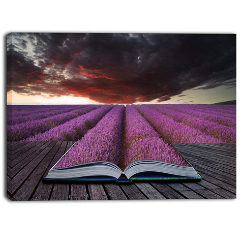 book open to lavender field floral canvas art print PT6834