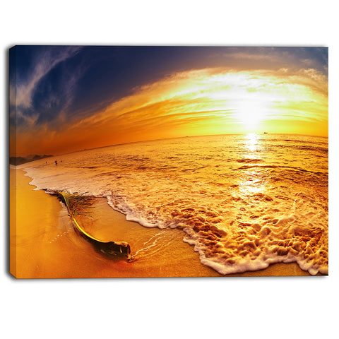 tropical beach at sunset photography canvas art print PT6835
