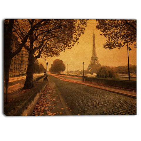 vintage style view of paris landscape photo canvas print PT6836