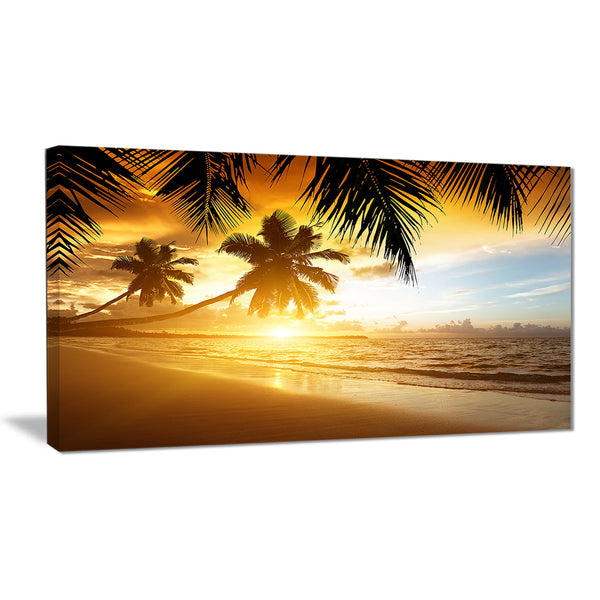 sunset over caribbean sea photo canvas art print PT6842