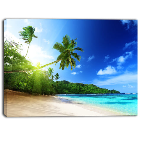 sunset beach with palm landscape photography canvas print PT6847