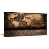 vintage map with wooden floor contemporary canvas art print PT6848