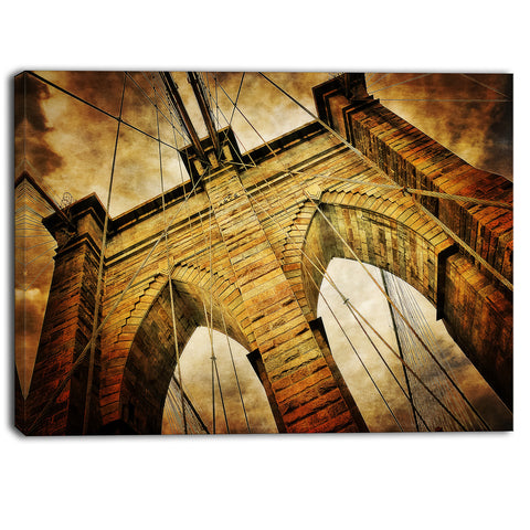 vintage brooklyn bridge contemporary canvas art print PT6850