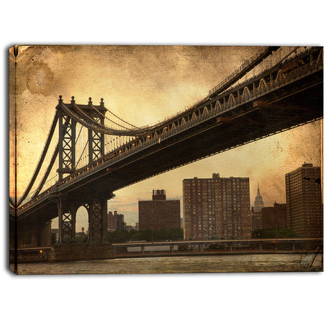 dark manhattan bridge photo canvas art print PT6851