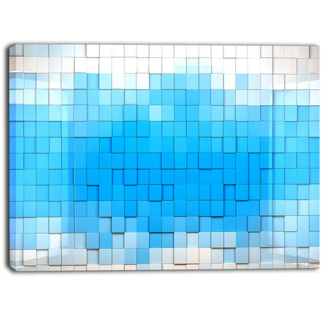 3d blue cubes contemporary art canvas print PT6856