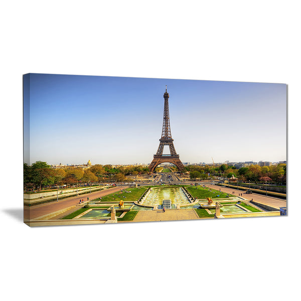wide view of eiffel tower landscape photo canvas print PT6857