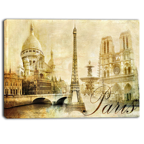 old beautiful paris cityscape digital canvas art print PT6866