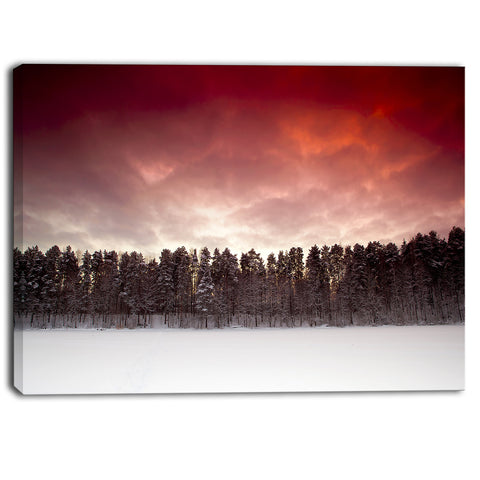sunset over frozen lake landscape photo canvas print PT6867