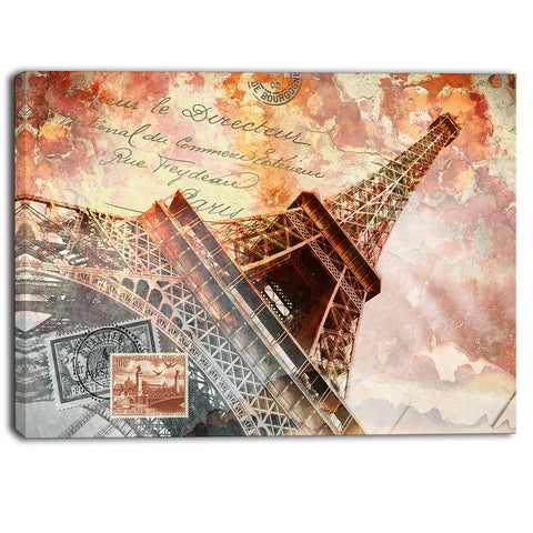 eiffel tower paris contemporary canvas art print PT6869