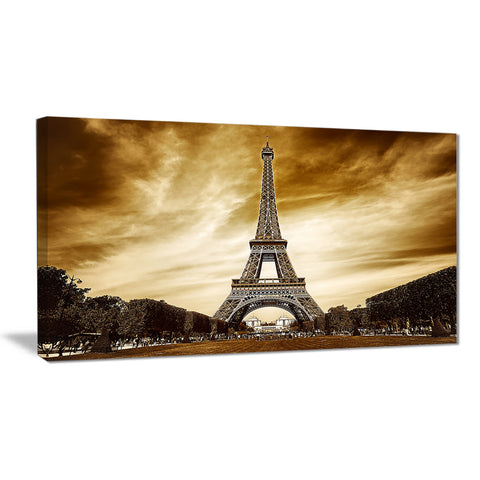 Eiffel Tower in Grey Shade Landscape Photo Canvas Print