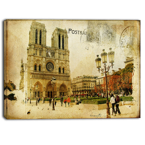 notre dame cathedral vintage canvas art print PT6876
