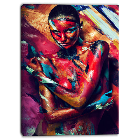 girl in paint portrait contemporary canvas art print PT6888