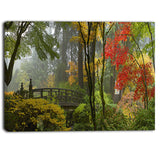 japanese wooden bridge in fall photo canvas art print PT6893