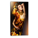woman in yellow dress digital art portrait canvas print PT6895