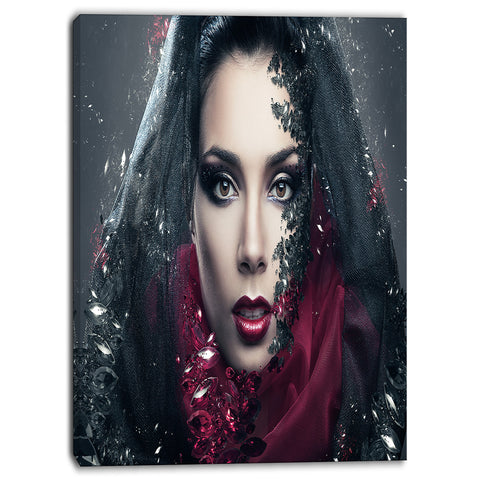 mysterious woman portrait contemporary canvas art print PT6897