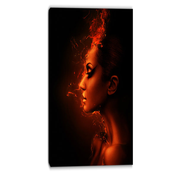 burning woman head portrait contemporary canvas art print PT6901