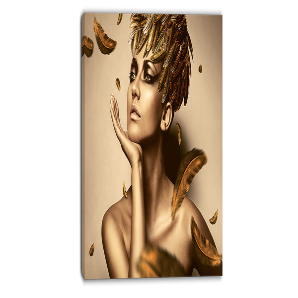 sexy woman in gold hat sensual contemporary canvas art print PT6909