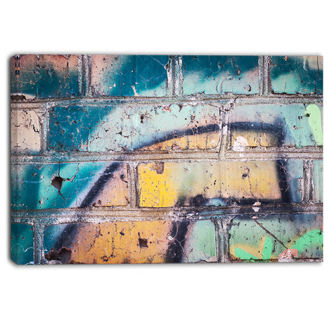 old brick graffiti street art canvas print PT6948