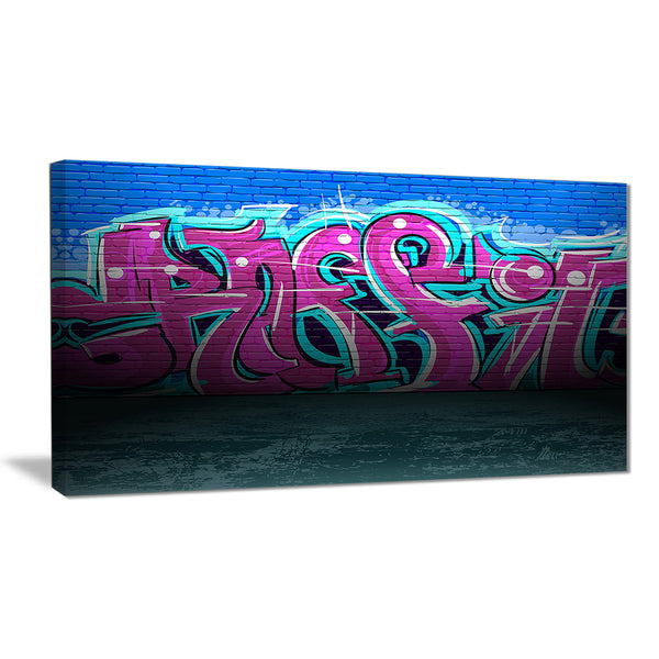purple graffiti wall street art canvas art print PT6952