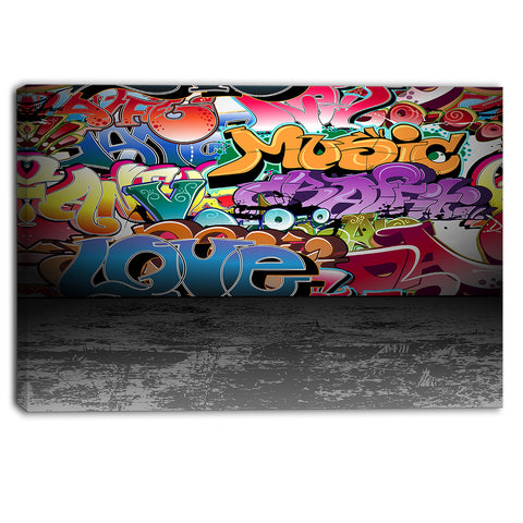 love and music street art graffiti canvas print PT6955