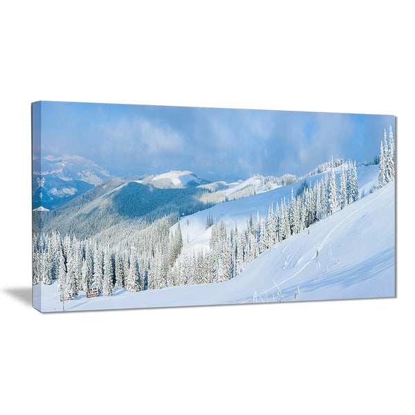 panoramic winter mountain landscape photo canvas print PT6960