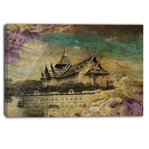 vintage style sky castle contemporary artwork PT6977
