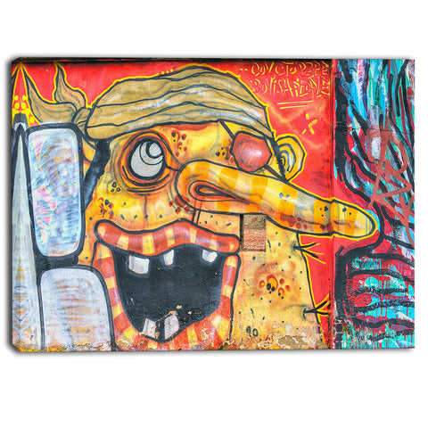 funny street art graffiti canvas art print PT6981