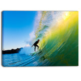 surfer beating green waves photo canvas art print PT6990