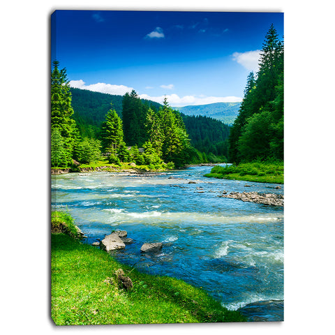 blue mountain river photography canvas print PT7004