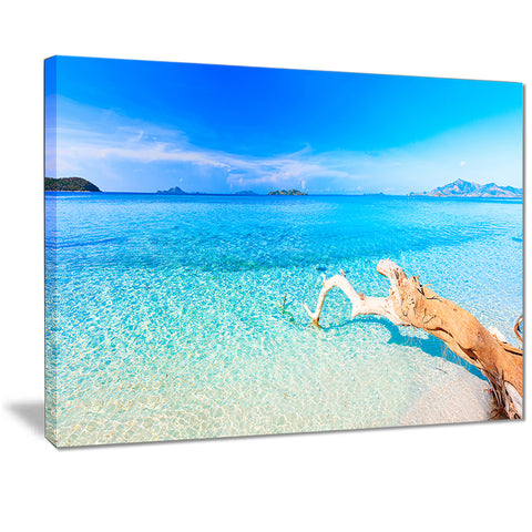 blue tropical beach panorama photo canvas print PT7067