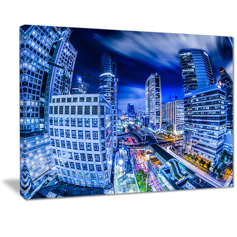 bangkok city night view cityscape photo canvas print PT7102