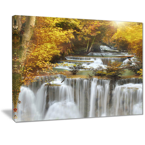 autumn huai mae kamin waterfall canvas art print PT7127