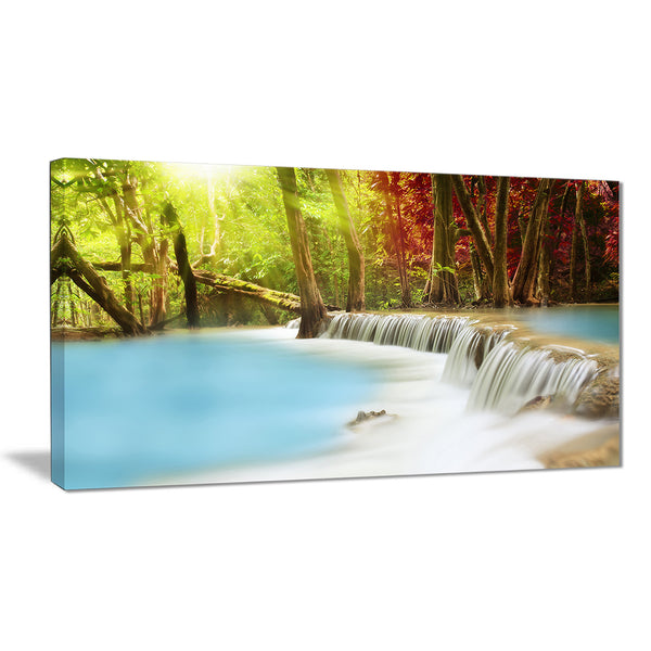 blue waters of huai mae kamin waterfall landscape canvas print PT7136