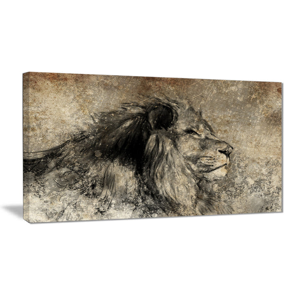 lion in sepia digital art animal canvas print PT7149