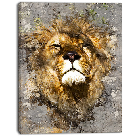 lion head with textures animal digital art canvas print PT7156