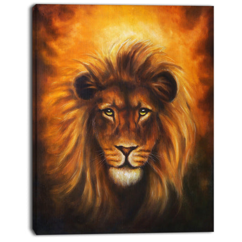 lion head with golden mane animal digital art canvas print PT7157