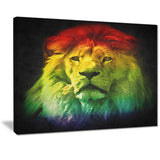 colorful lion head animal digital art canvas print PT7159