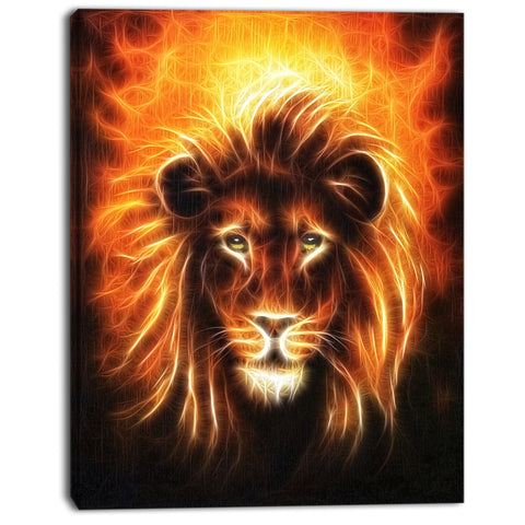 lion with flame mine animal digital art canvas print PT7161