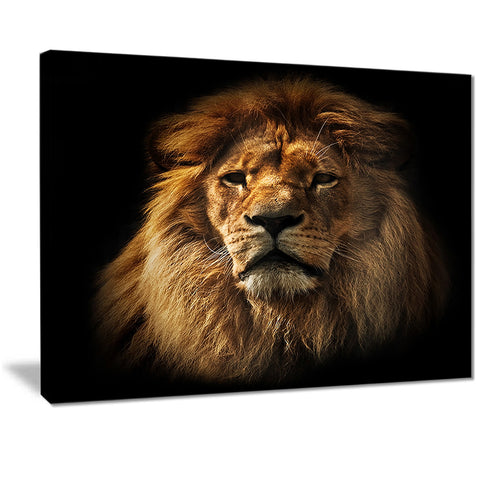 lion portrait with rich mane animal digital art canvas print PT7164
