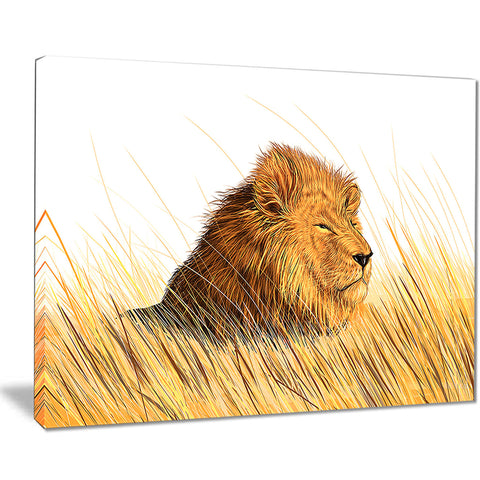 lion watching the surroundings animal art canvas print PT7168
