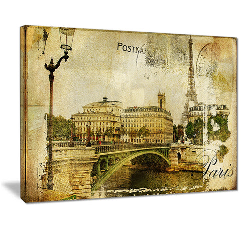 vintage paris digital art cityscape canvas print PT7170