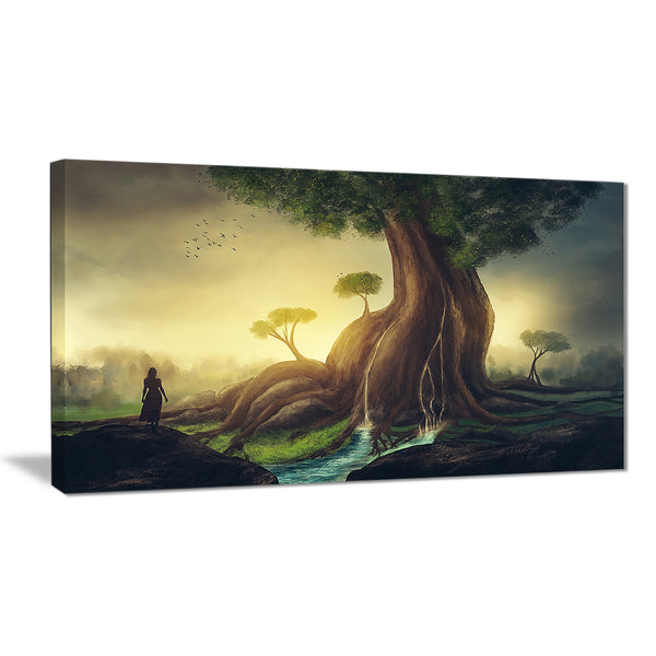 giant tree with woman digital art canvas print PT7178