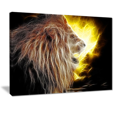lion with fire animal digital art canvas print PT7180