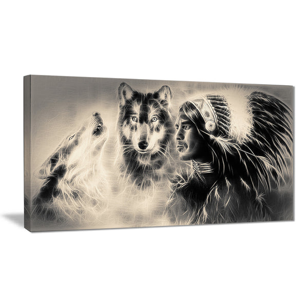 indian warrior with wolves digital art canvas print PT7185