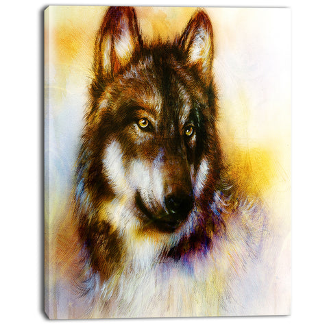 brown wolf illustration digital art canvas print PT7186